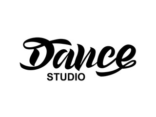 Handwritten brush lettering for ballet or dance studio. Black isolated text in modern style on white background. Vector illustration for logo, label signage, posters and advertising your business.