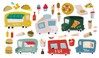 Various fast food and food trucks. Hand drawn big vector set. All elements are isolated