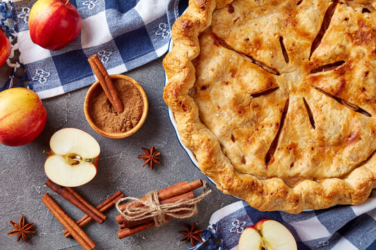 American apple pie on a concrete table