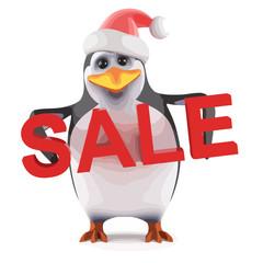 Vector 3d Xmas penguin sale