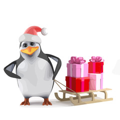 Vector 3d Xmas penguin gift sleigh