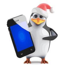 Vector 3d Santa penguin with a smartphone