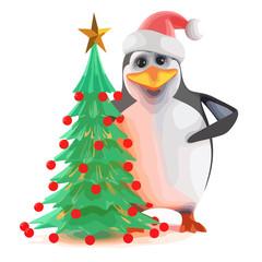 Vector 3d Xmas penguin Christmas tree