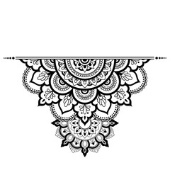 Mehndi mandala pattern for Henna drawing and tattoo. Decoration in ethnic oriental, Indian style.