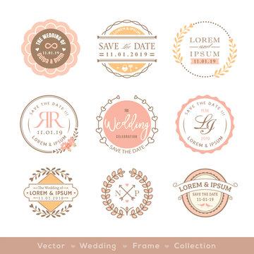 retro pastel wedding logo frame badge design element