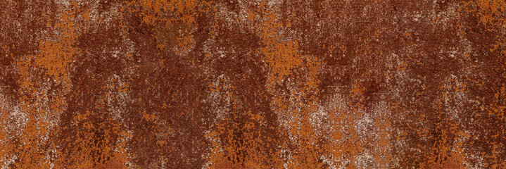 Panorama of grunge rusted metal texture, rust and oxidized metal background. Old metal iron panel. Wall mural