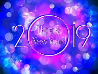 Happy New Year 2019 blue purple greeting card, sparkling defocused bokeh in winter and snowflake vector background