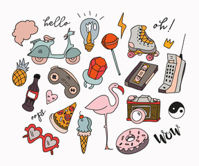 Hand drawn various retro objects. Colored doodle vector collection. All elements are isolated