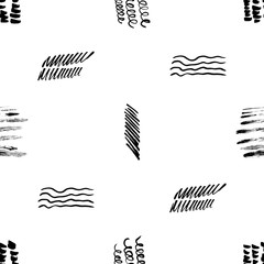 Seamless pattern hand drawn with a brush strokes. Abstract black and white paint brushstrokes vector illustration. Grunge monochrome background. Good for web, print, textile and wrapping paper.
