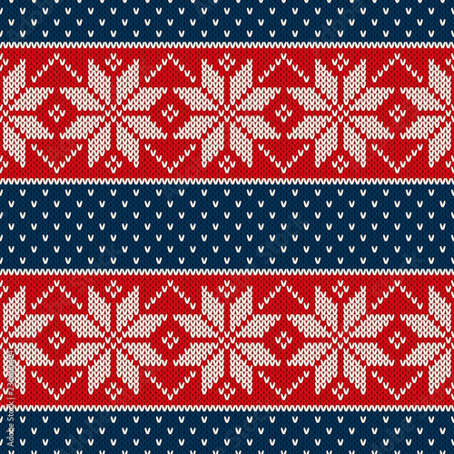 2032077c8192 Traditional Christmas Knitted Pattern with Snowflakes. Wool Knitting  Seamless Sweater Design