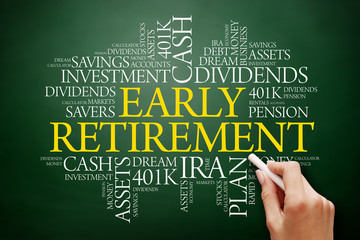 Early Retirement word cloud collage with great terms such as investments, budget, finance business concept background.