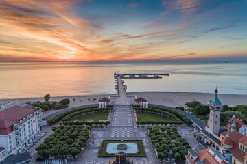 Sunrise in Sopot at the sea aerial view