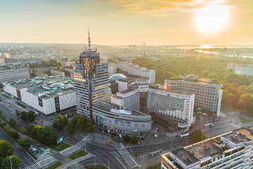 Szczecin at the sunset aerial view