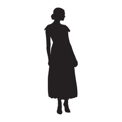 Woman standing. Long skirt, high heels shoes. Isolated vector silhouette