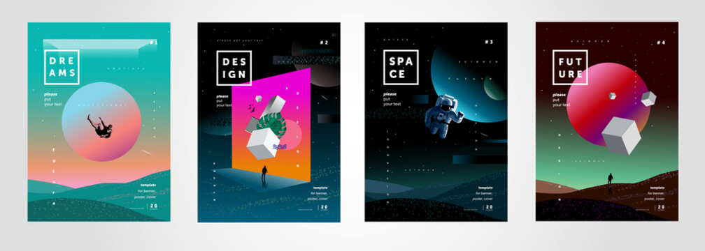 Set of vector abstract gradient illustrations,  backgrounds for the cover of magazines about dreams, future, design and space, fancy, crazy posters