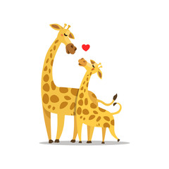 Hugging Giraffe Postcard Vector illustration, love