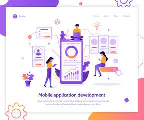 Modern flat vector illustration concept. Mobile app development. Teamwork project. Web banner mockup. UI design creation.