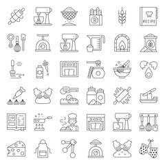 bakery and pastry shop related outline icon set editable stroke