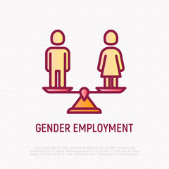 Equal gender employment thin line icon: woman and man on the scales are equal. Modern vector illustration.