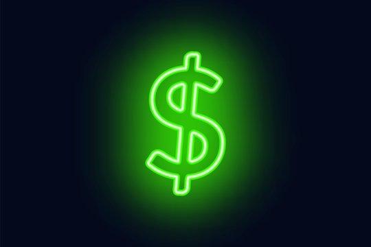 Neon dollar sign on a dark background. Wealth, Success concept.