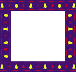 Cute Christmas or new year square border frame with copy space on white background