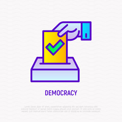 Democracy thin line icon: hand puts ballot with tick in box. Modern vector illustration of election.