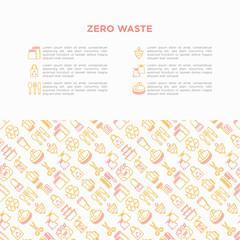 Zero waste concept with thin line icons: menstrual cup, safety razor, glass jar, natural deodorant, hand coffee grinder, french press, metal scissors, body brush, wooden comb. Vector illustration.