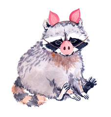 Cute raccoon animal in piggy costume with pig nose. Funny illustration fo New year. Watercolor