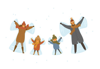 cute cartoon family, parents and children making snow angel in snow isolated vector illustration scene