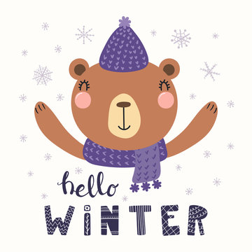 Hand drawn vector illustration of a cute funny bear in knitted hat, muffler, with text Hello Winter. Isolated objects on white background. Scandinavian style flat design. Concept for children print.