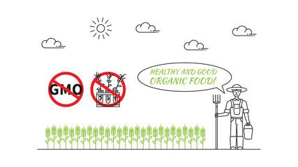 Farmer and organic wheat vector illustration. Organic wheat versus gmo plants line art concept.