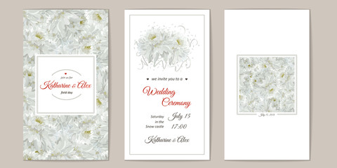 Greeting card with flowers bouquet - white chrysanthemums.