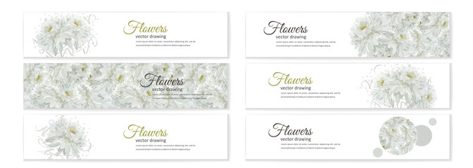 Floral posters, banners, greeting card - white chrysanthemums