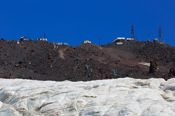 The building of the cable car station on the slope of Elbrus in the North Caucasus.