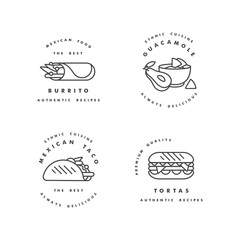 Vector set of design templates logos and emblems - mexican food. Mexican national traditional food. Logos in trendy linear style isolated on white background.