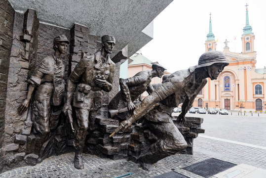 Part of the Warsaw Uprising Monument, a memorial dedicated to the Warsaw Uprising of 1944, in Warsaw, Poland