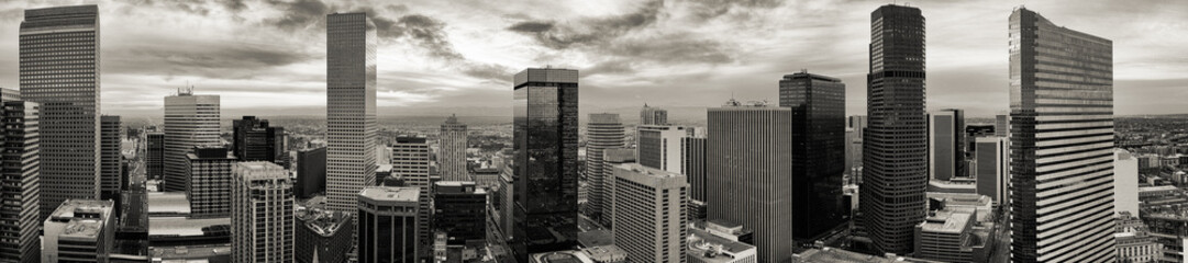 Aerial/drone black and white panorama of the capital city of Denver Colorado. Wall mural