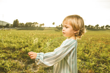 Little girl playing with plants in the field