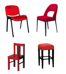 Four isolated  red chairs. Vector illustration.