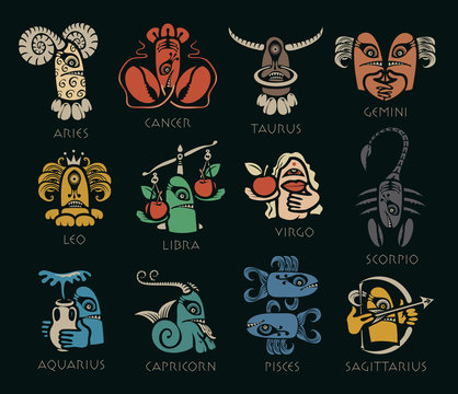 Vector set of twelve signs of the zodiac in the form of bright colored funny monsters in flat style. Icons for astrology horoscopes with inscriptions on black background