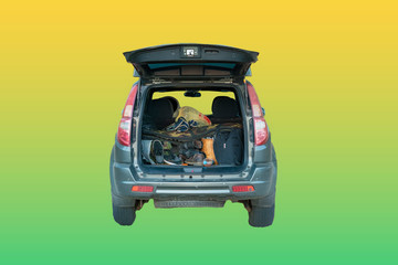 Papiers peints Cartoon voitures isolated opened car trunk with luggage on yellow background f