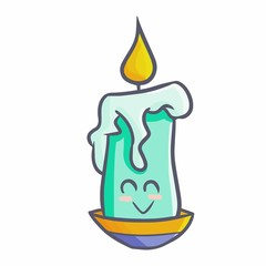Funny and cute green candle - vector.