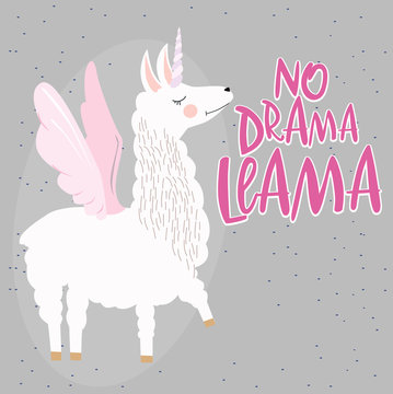 "Fun poster "" No drama llama"" with Cute Alpaca character. Editable vector illustration"