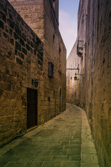 The narrow streets of the old town of Mdina, Malta