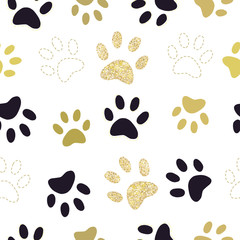 Trendy gold and black colored paw prints pattern