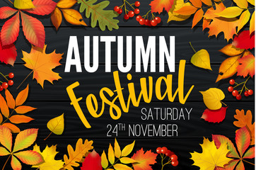 November autumn festival announcement, invitation banner design, template with fallen leaves, realistic colorful foliage with text