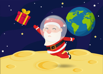 Santa Claus on the moon with gift boxes floating in space.