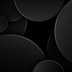 Black abstract background of dark circles Creative design element The template theme for the day of sales Black Friday and Cyber Monday Abstract pattern of black circles on a black background Vector
