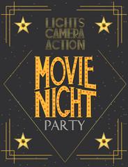 Night Movie party invitation card, birthday party invitation or poster. Editable vector illustration