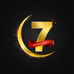 Eid al Adha 7 years anniversary.Pattern with arabic golden, gold half moon and glitter.Vector illustration of greeting cards, covers, prints.
